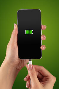 Elegant hand charging cellphone with low battery