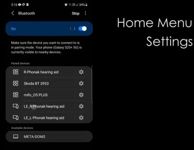 Home Menu Settings Connection Tab